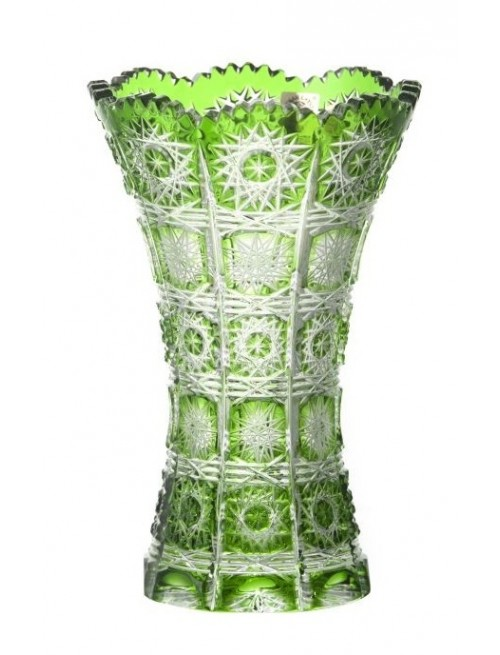 Krištáľová váza Paula II, farba zelená, výška 180 mm
