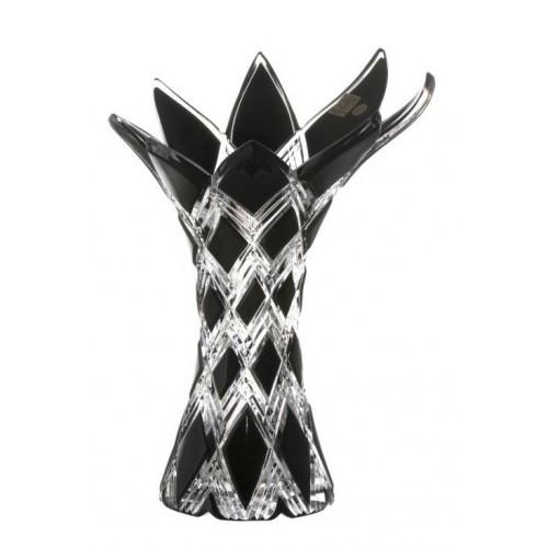Krištáľová váza Harlequin, farba čierna, výška 270 mm