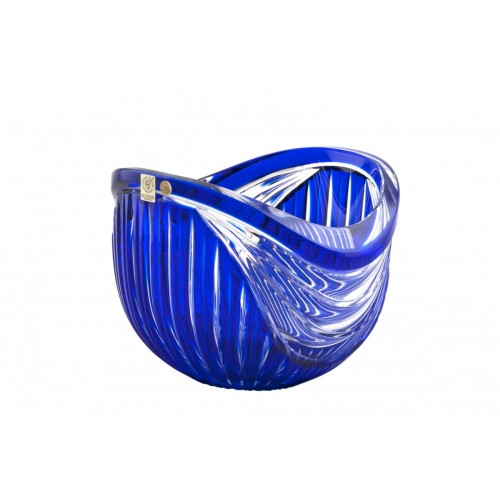 Krištáľová misa Harp, farba modrá, priemer 200 mm