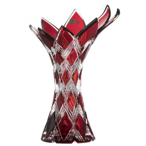 Krištáľová váza Harlekýn, farba rubínová, výška 270 mm