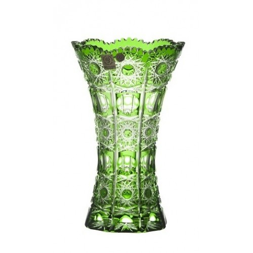 Krištáľová váza Petra, farba zelená, výška 205 mm
