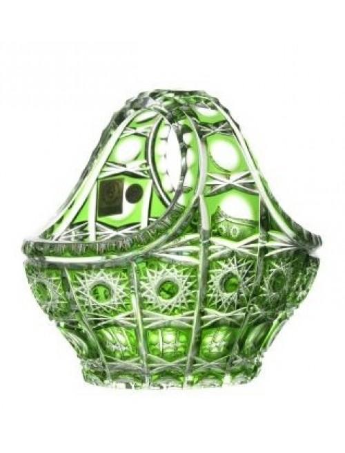 Krištáľový kôš Petra, farba zelená, priemer 150 mm