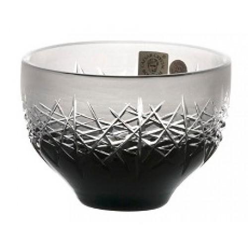 Krištáľová miska Hoarfrost, farba čierna, priemer 95 mm