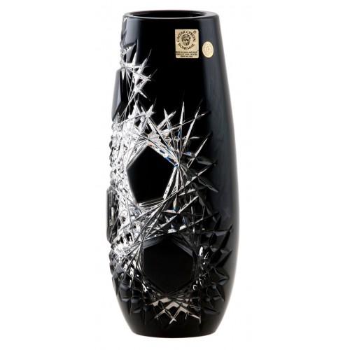 Krištáľová váza Frost, farba čierná, výška 205 mm