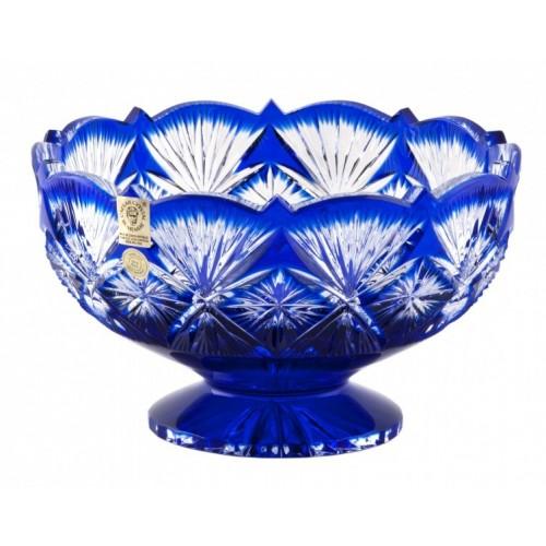 Krištáľová misa Grace, farba modrá, priemer 180 mm