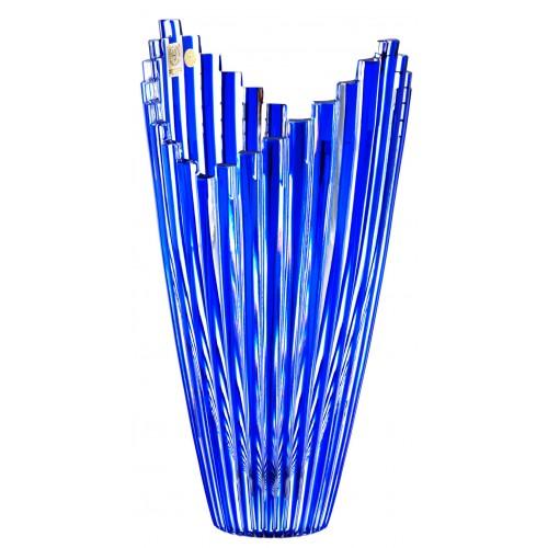 Krištáľová váza Mikádo, farba modrá, výška 270 mm