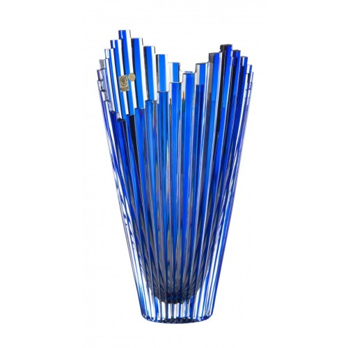 Krištáľová váza Mikado, farba modrá, výška 310 mm