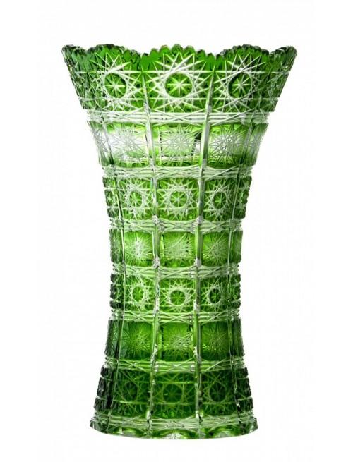 Krištáľová váza Paula I, farba zelená, výška 255 mm