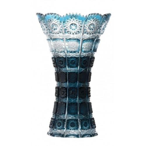 Krištáľová váza Paula, farba azúrová, výška 255 mm