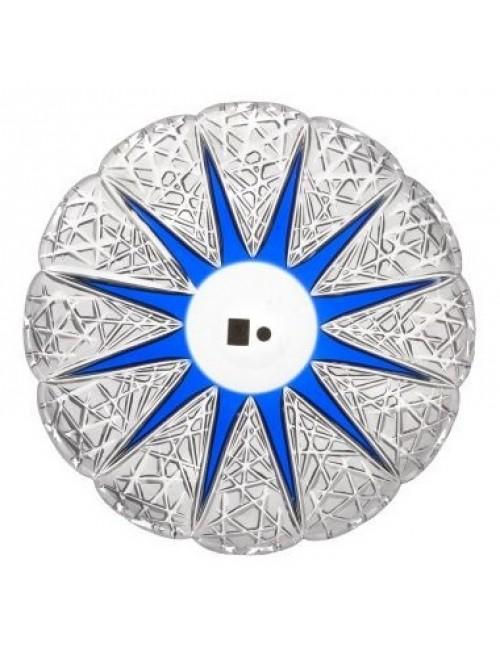 Krištáľový tanier Flowerbud, farba modrá, priemer 300 mm