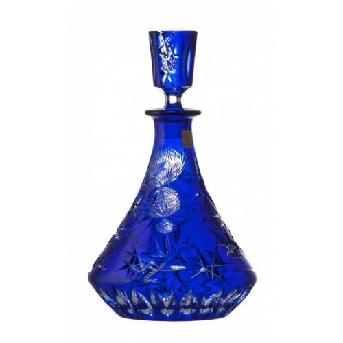 Krištáľová fľaša Thistle, farba modrá, objem 800 ml