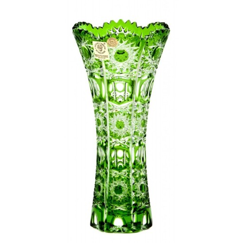 Krištáľová váza Petra II, farba zelená, výška 180 mm