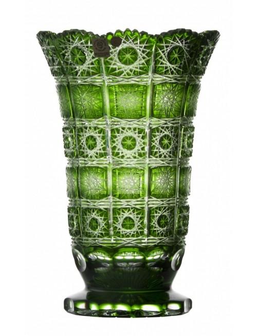 Krištáľová váza Paula, farba zelená, výška 255 mm