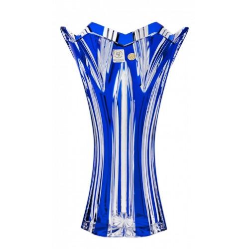 Krištáľová váza Lotos II, farba modrá, výška 255 mm