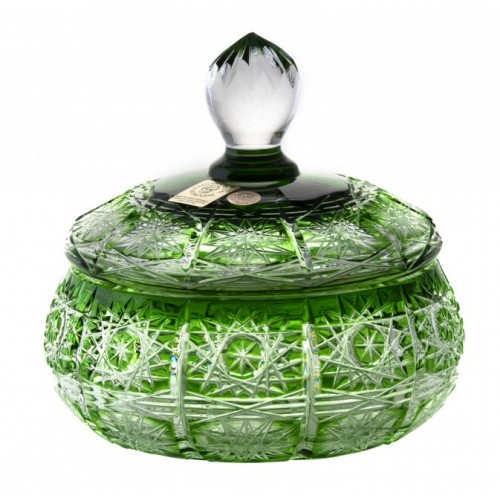 Krištáľová dóza Paula, farba zelená, výška 128 mm