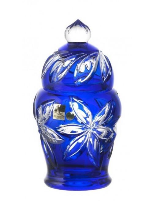 Krištáľová dóza Linda, farba modrá, výška 200 mm