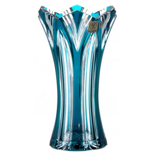 Krištáľová váza Lotos, farba azúrová, výška 205 mm