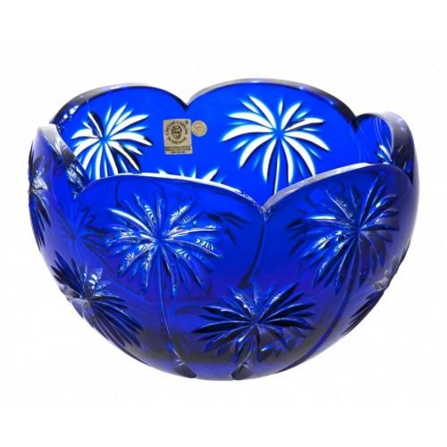 Krištáľová misa Palm, farba modrá, priemer 200 mm