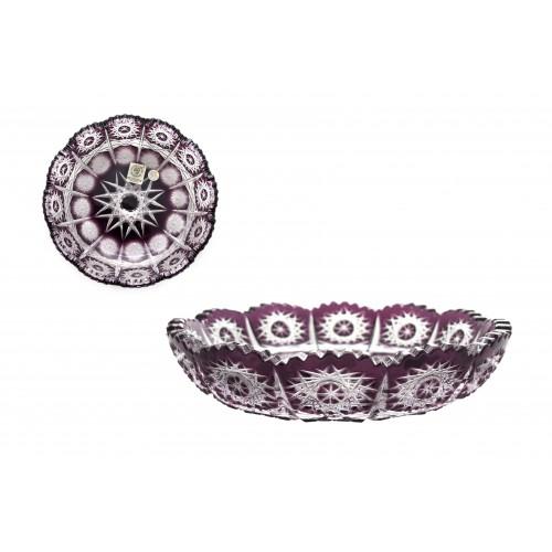 Krištáľový tanier Paula, farba fialová, priemer 146 mm