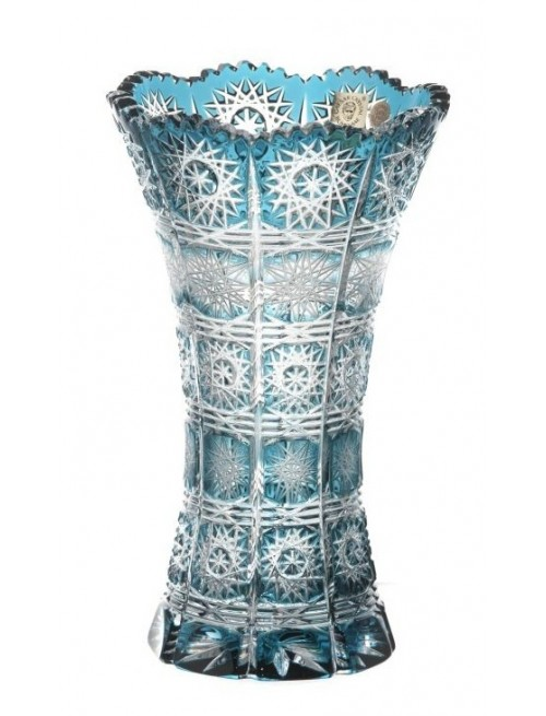 Krištáľová váza Paula II, farba azúrová, výška 205 mm