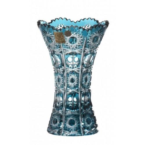 Krištáľová váza Petra, farba azúrová, výška 155 mm
