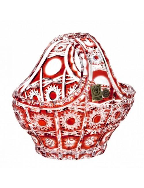 Krištáľový kôš Petra, farba rubínová, priemer 150 mm