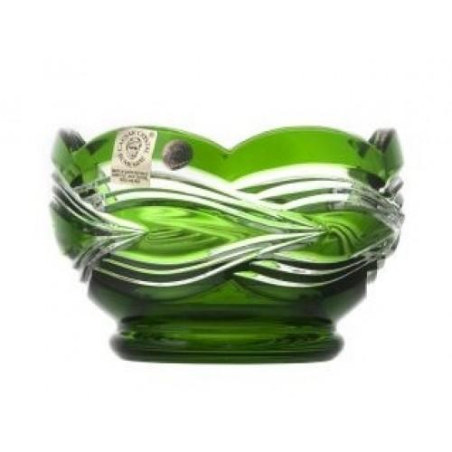Krištáľová miska Sgrafito, farba zelená, priemer 110 mm
