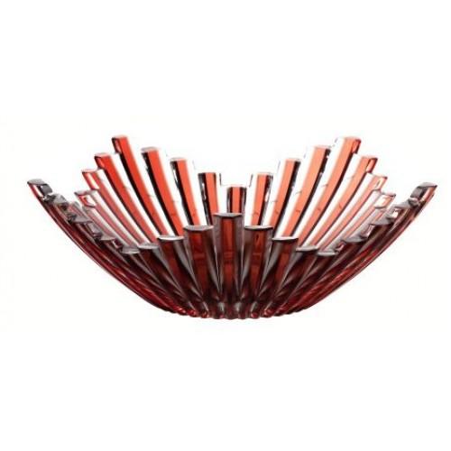 Krištáľová misa Mikado, farba rubín, priemer 230 mm