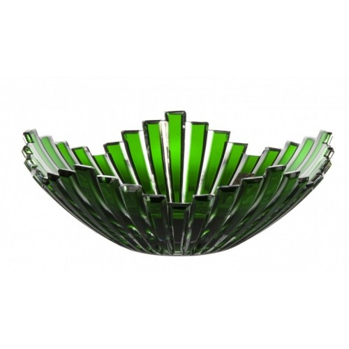 Krištáľová misa Mikado, farba zelená, priemer 230 mm