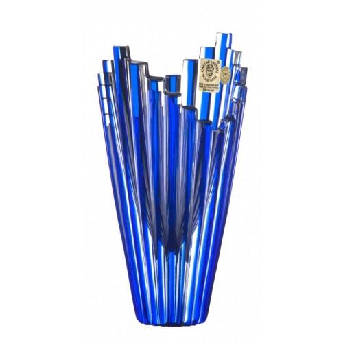 Krištáľová váza Mikado, farba modrá, výška 155 mm