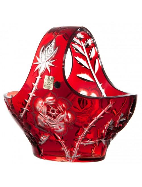 Krištáľový kôš Ruža, farba rubínová, priemer 200 mm