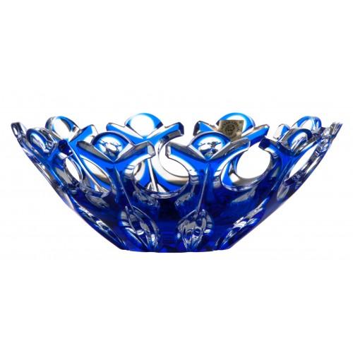 Krištáľová misa Flamenco, farba modrá, priemer 180 mm