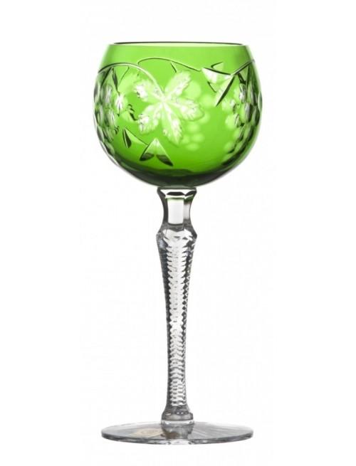 Krištáľový pohár na víno Grapes, farba zelená, objem 190 ml