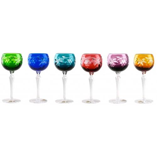 Krištáľový set pohár na víno Grapes, farba mix farieb, objem 190 ml