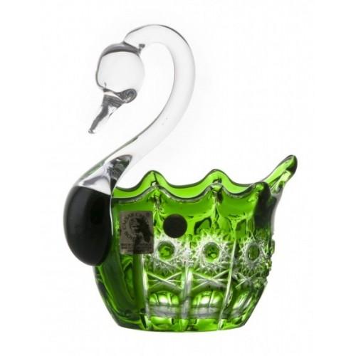 Krištáľová labuť Petra, farba zelená, priemer 80 mm