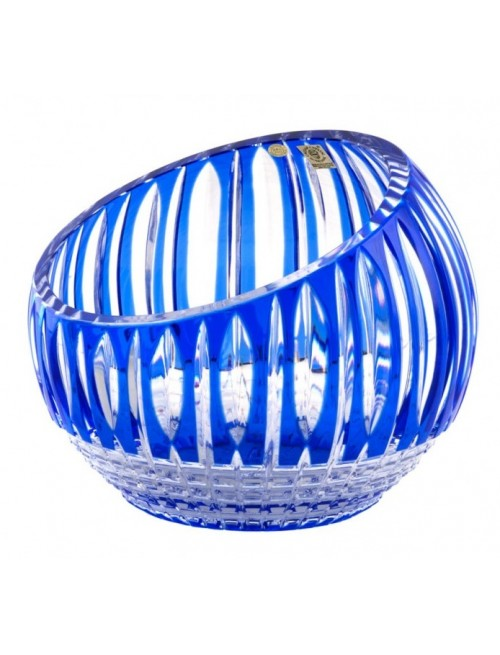 Krištáľová váza Denver, farba modrá, výška 200 mm