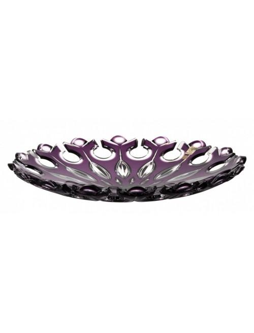 Krištáľový tanier Flamenco, farba fialová, priemer 350 mm