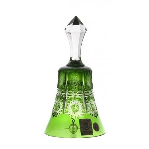 Krištáľový zvonček Paula, farba zelená, výška 126 mm