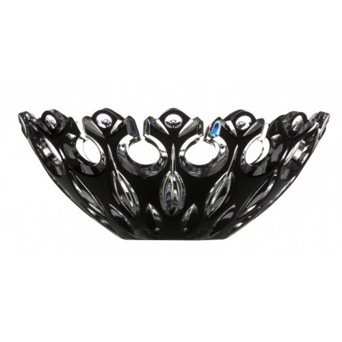 Krištáľová misa Flamenco, farba čierna, priemer 280 mm