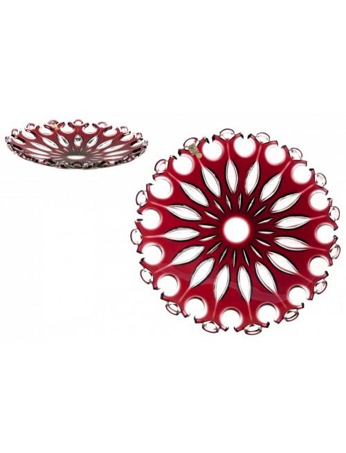 Krištáľový tanier Flamenco, farba rubín, priemer 350 mm