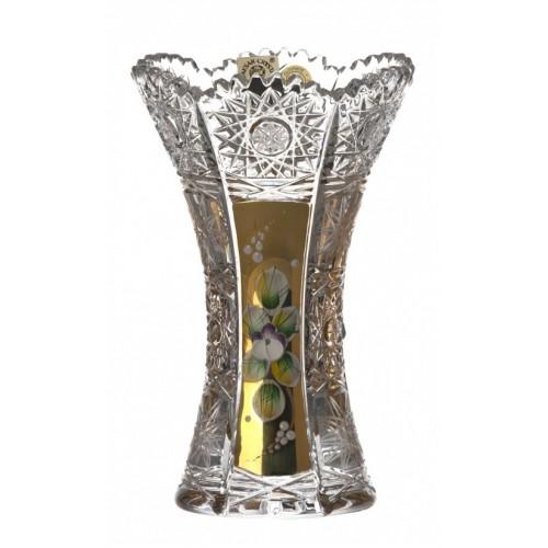 Krištáľová váza 500K Zlato, farba číry krištáľ, výška 155 mm