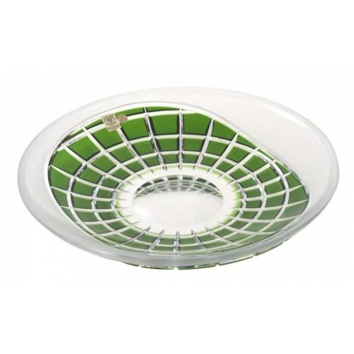 Krištáľový tanier Neron, farba zelená, priemer 300 mm