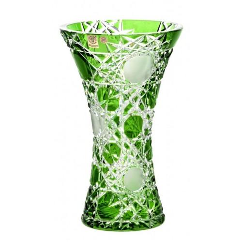 Krištáľová váza Flake, farba zelená, výška 255 mm