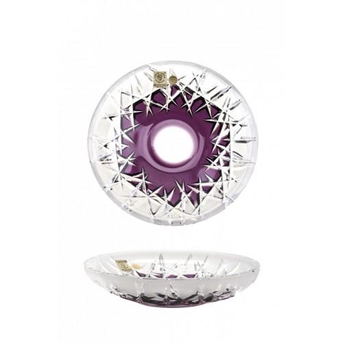Krištáľový tanier Hoarfrost, farba fialová, priemer 180 mm