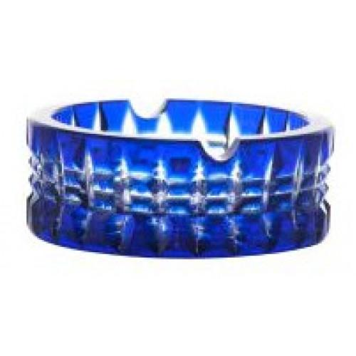Krištáľový popolník Brilant, farba modrá, priemer 90 mm