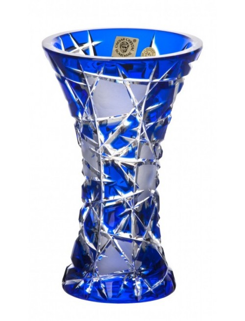 Krištáľová váza Mars, farba modrá, výška 155 mm
