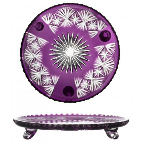Krištáľový tanier Grace, farba fialová, priemer 305 mm