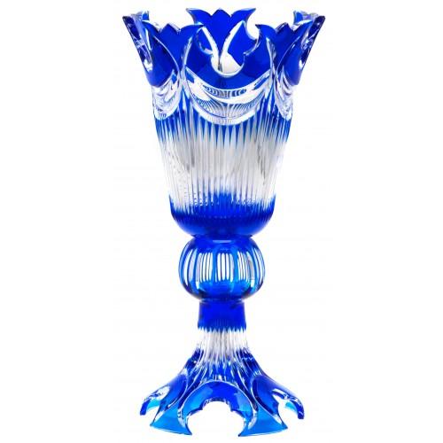 Krištáľová váza Diadem, farba modrá, výška 355 mm