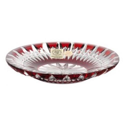 Krištáľový tanier Thorn, farba rubínová, priemer 130 mm