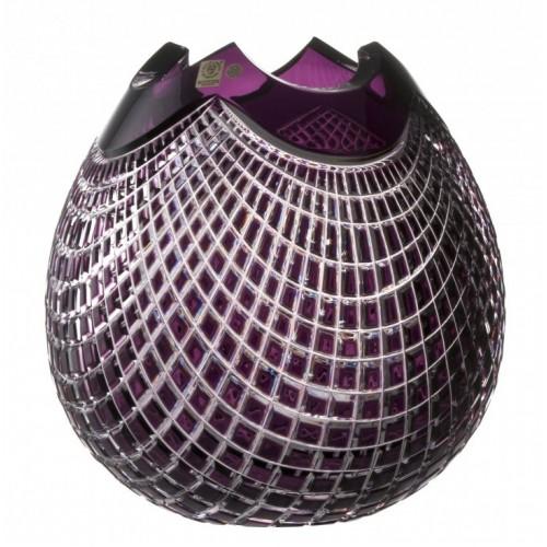 Krištáľová váza Quadrus, farba fialová, výška 280 mm
